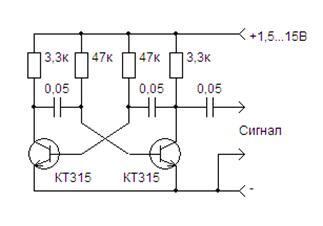Схема простого звукового генератора на транзисторах